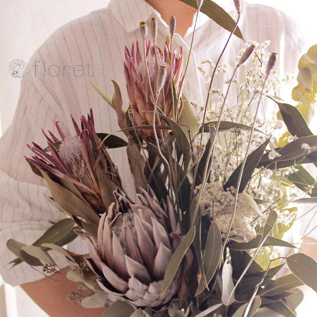 プロテアとユーカリのドライフラワー花束4