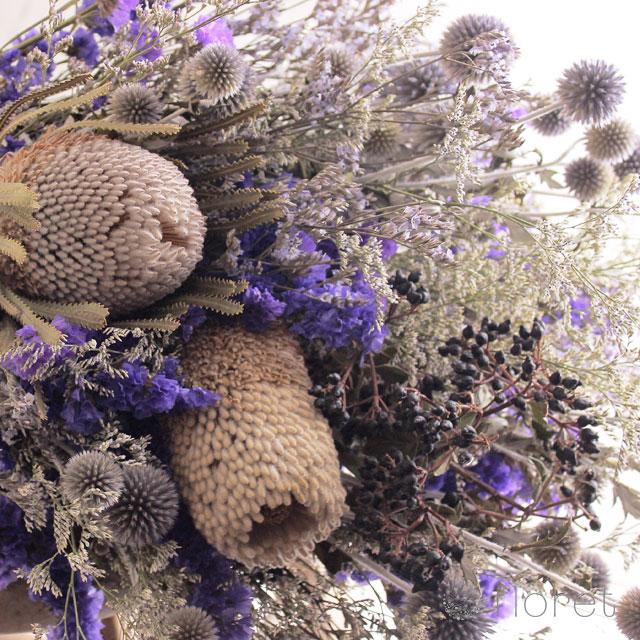 バンクシアとルリタマアザミのドライフラワー花束3