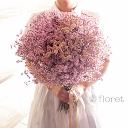 ピンクスターチスの大きなドライフラワー花束