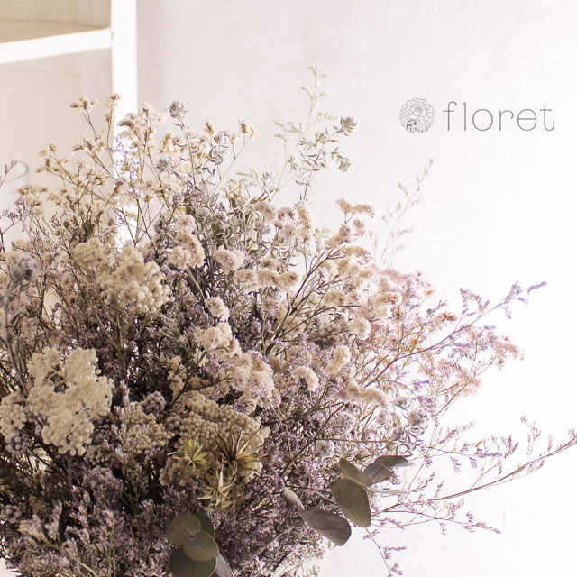 白いドライフラワー花束5