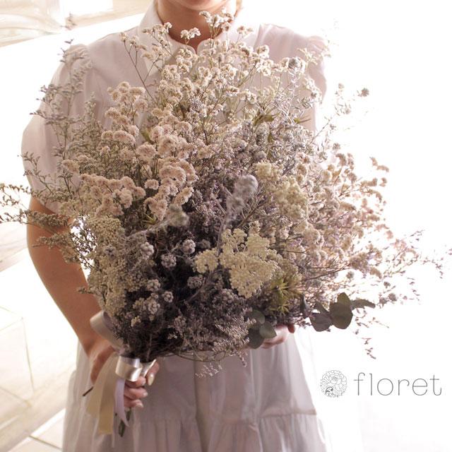 白いドライフラワー花束6