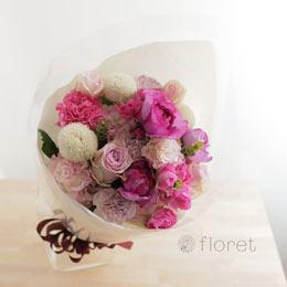 ピンクグラデーションの花束