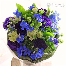 青と紫と緑のブーケ