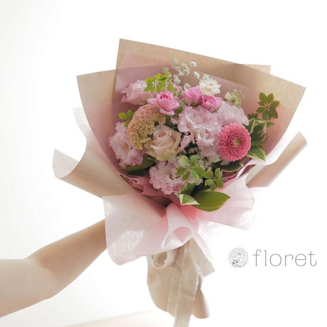 花束(おしゃれなラッピング)お任せピンク系サンプル画像1