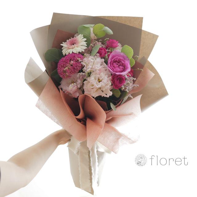 花束(おしゃれなラッピング)お任せピンク系サンプル画像3