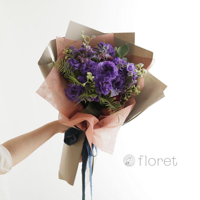 花束(おしゃれなラッピング)お任せ紫系サンプル画像1