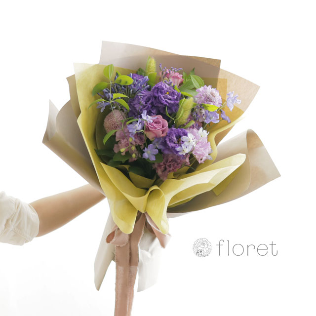 花束(おしゃれなラッピング)お任せ紫系サンプル画像2