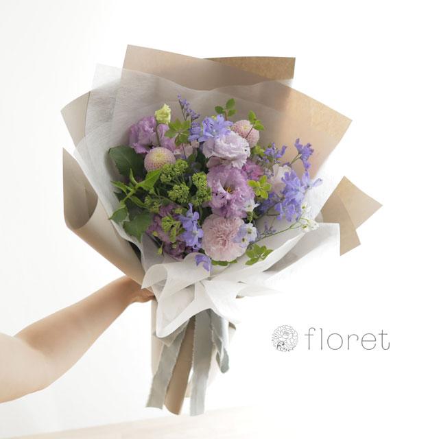花束(おしゃれなラッピング)お任せ紫系サンプル画像3
