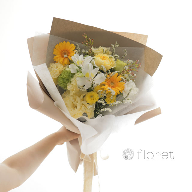 花束(おしゃれなラッピング)お任せ黄色・オレンジ系サンプル画像3