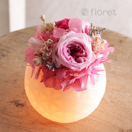 光る!LEDライトのプリザーブドアレンジ(ピンク)