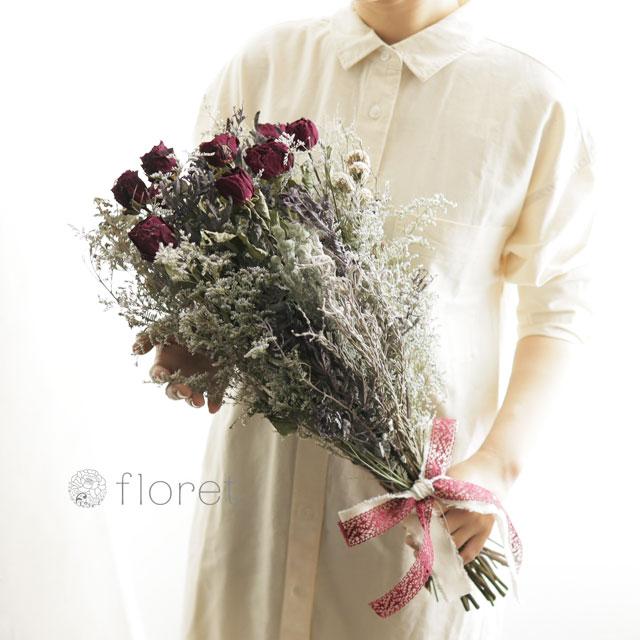 赤バラのシックなドライフラワー花束2