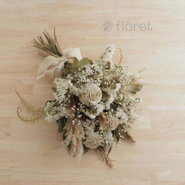 シダローズとドライフラワーの白い花束4