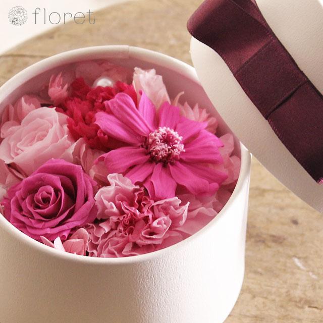 鮮やかなピンクBOXプリザーブドフラワーmini2