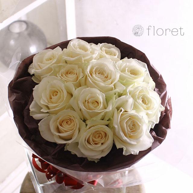 白いバラ12本のブーケ